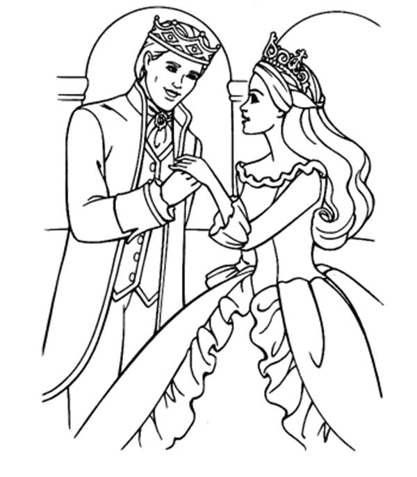 Barbie Princess, : Barbie Princess and Ken Coloring Page