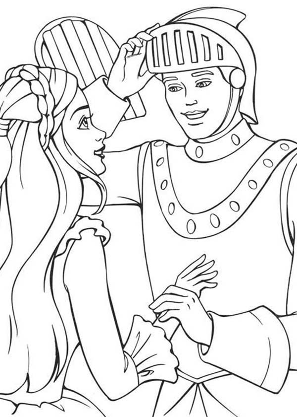 Barbie Princess, : Barbie Princess and Ken the Knight Coloring Page