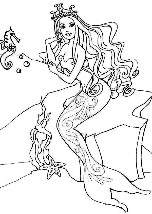 Barbie Princess, : Barbie Princess in the Sea Talking to Sea Horse Coloring Page