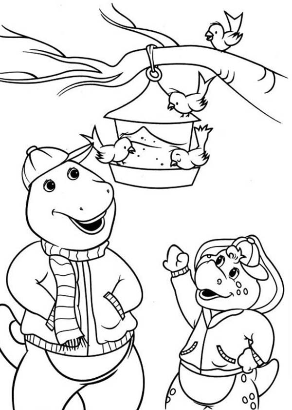 Barney and Friends, : Barney and Friends Playing with the Birds Coloring Page