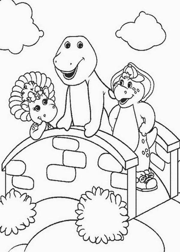 Barney and Friends, : Barney Baby Bop and BJ Standing on the Bridge in Barney and Friends Coloring Page