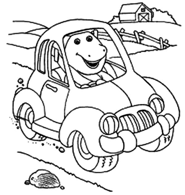 Barney and Friends, : Barney Driving a Car in Barney and Friends Coloring Page