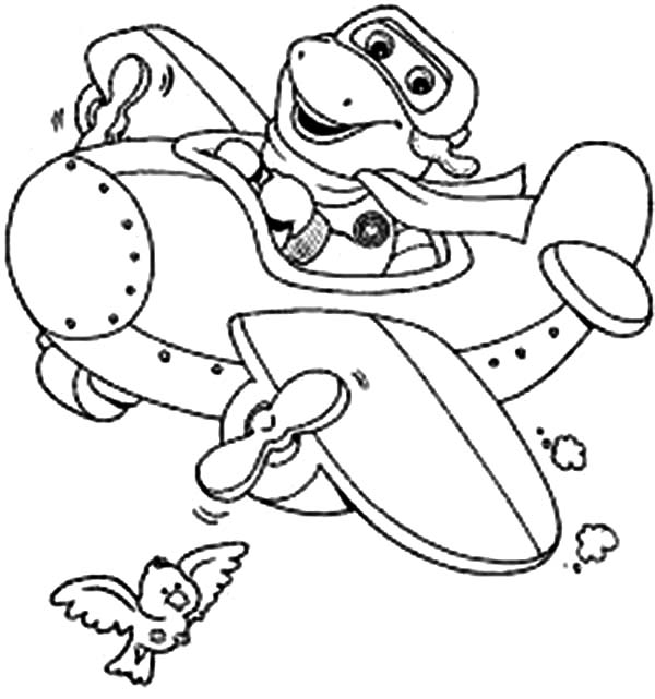 Barney and Friends, : Barney Flying with Airplane in Barney and Friends Coloring Page