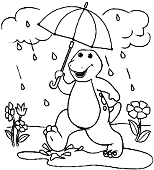 Barney and Friends, : Barney Walking in the Rain in Barney and Friends Coloring Page