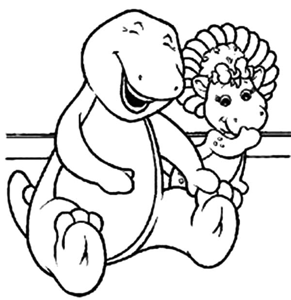 Barney and Friends, : Barney and Baby Bop Laughing Together in Barney and Friends Coloring Page