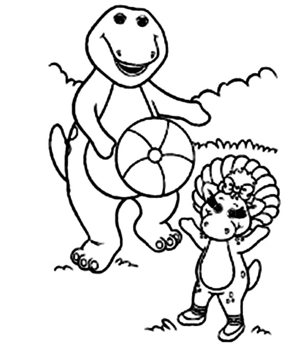 Barney and Friends, : Barney and Baby Bop Playing Ball in Barney and Friends Coloring Page