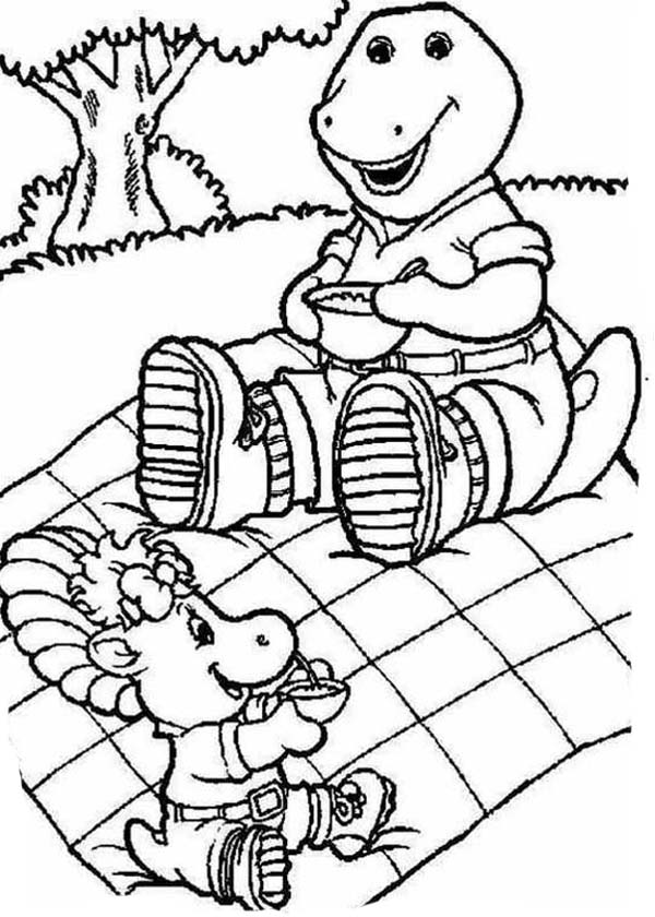 Barney and Friends, : Barney and Baby Bop in Vacation in Barney and Friends Coloring Page