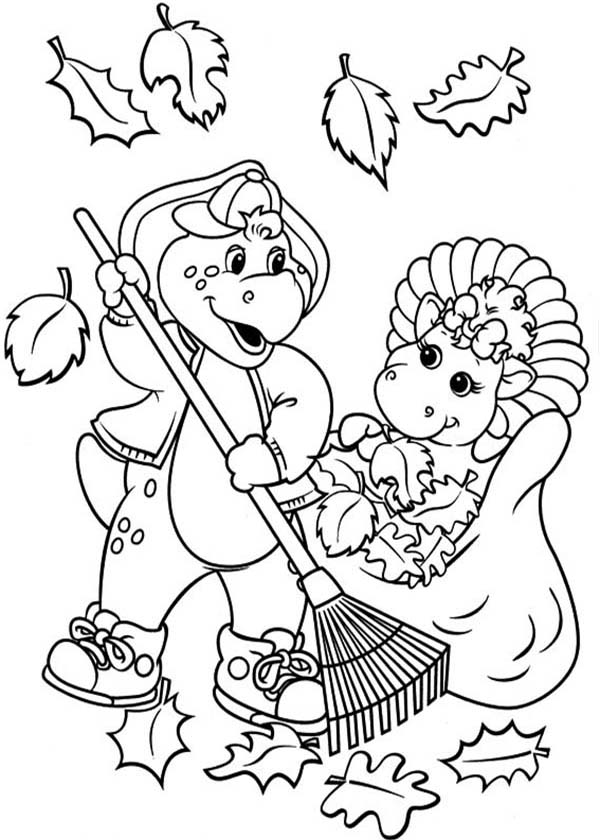 Barney and Friends, : Barney and Friends Cleaning Dry Leaves Coloring Page