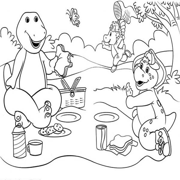 Barney and Friends, : Barney and Friends Picnic Day Coloring Page