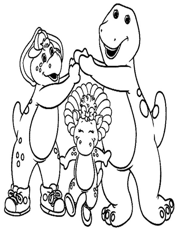 Barney and Friends, : Barney and Friends Playing Together Coloring Page