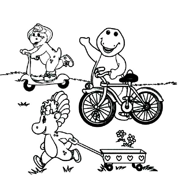 Barney and Friends, : Barney and Friends Playing in the Garden Coloring Page
