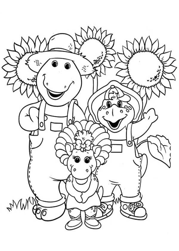 Barney and Friends, : Barney and Friends in the Sunflower Garden Coloring Page