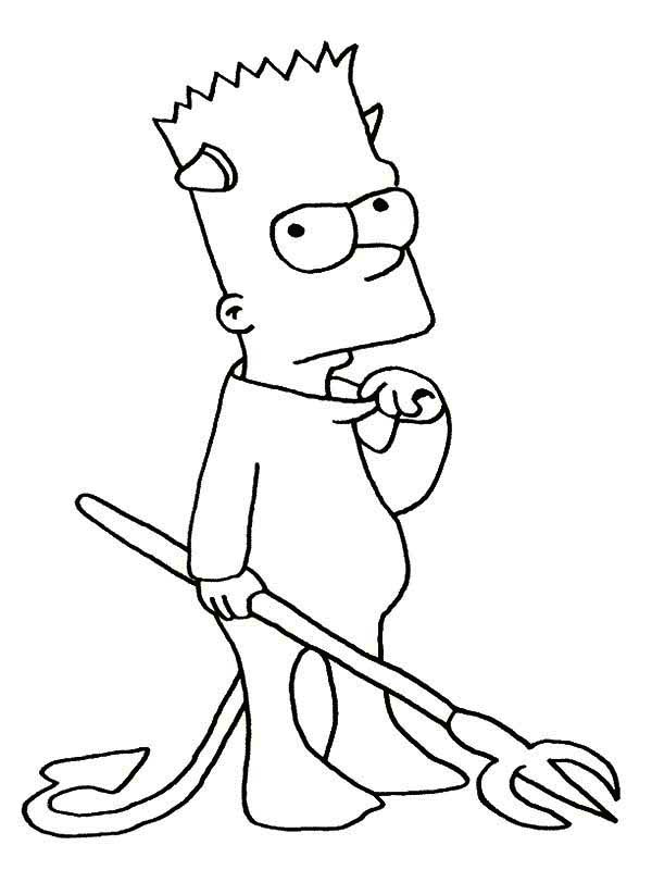 The Simpsons, : Bart Simpson the Devil  in the Simpsons Coloring Page