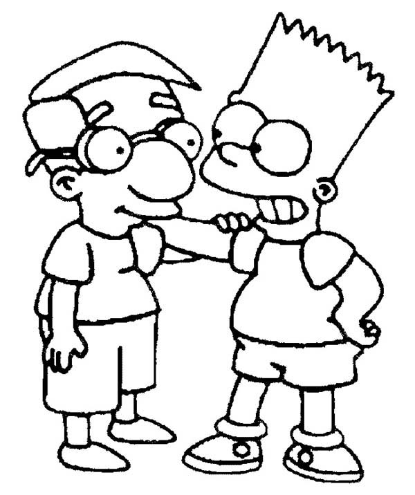 The Simpsons, : Bart and Milhouse are Friends in the Simpsons Coloring Page
