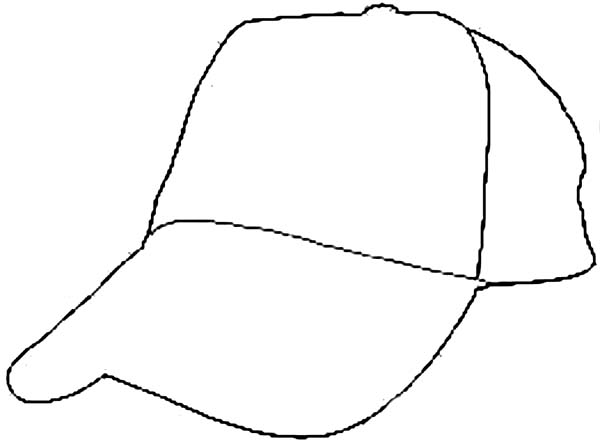 Baseball Cap, : Baseball Cap Outline Coloring Page