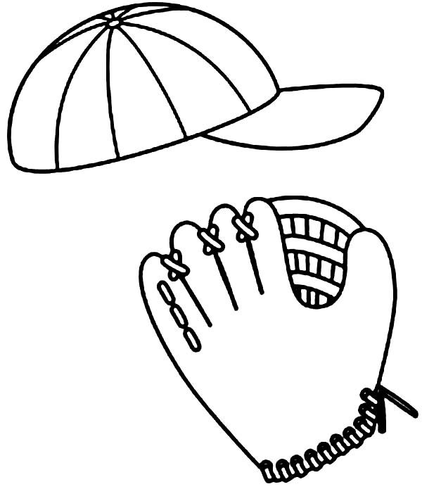 Baseball Cap, : Baseball Cap and Glove Picture Coloring Page