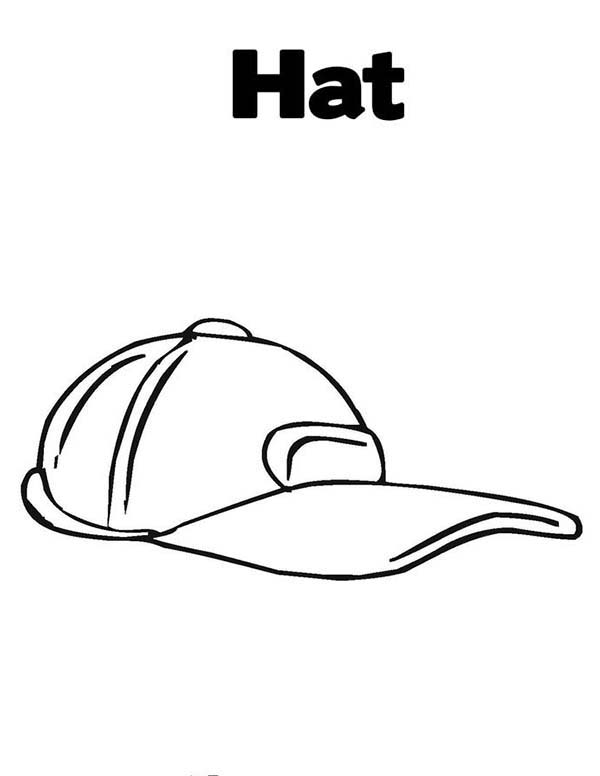 Baseball Cap, : Baseball Cap is a Hat Coloring Page