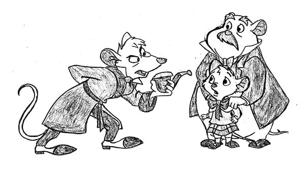 The Great Mouse Detective, : Basil Asking Olivia and David in the Great Mouse Detective Coloring Page