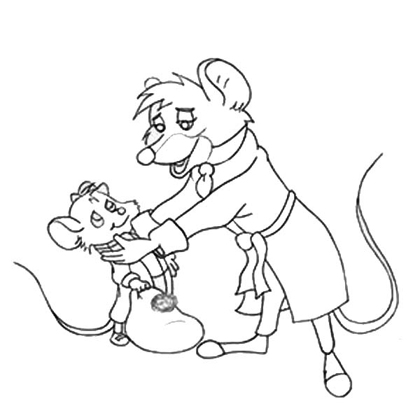 The Great Mouse Detective, : Basil Help Olivia to Stand Up in the Great Mouse Detective Coloring Page