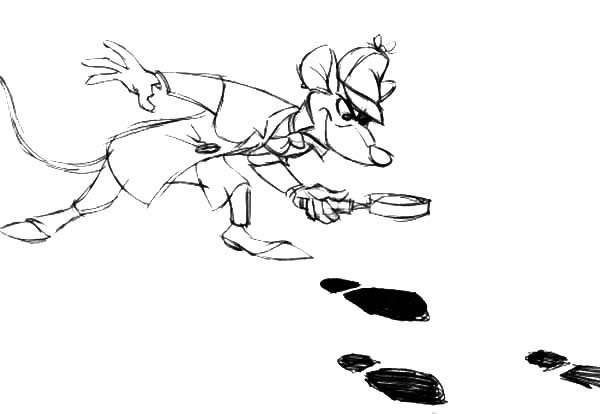 The Great Mouse Detective, : Basil of Baker Street Following Foot Print in the Great Mouse Detective Coloring Page