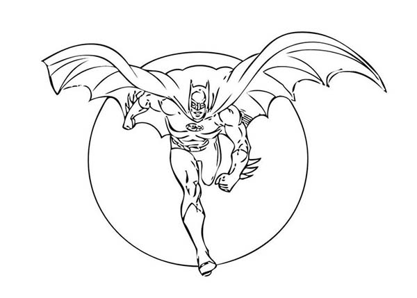 Batman, : Batman Flying on Full Moon Background Coloring Page