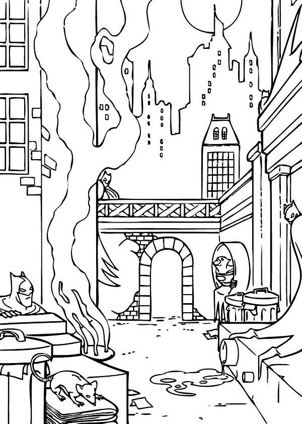 City, : Batman Gotham City Coloring Page