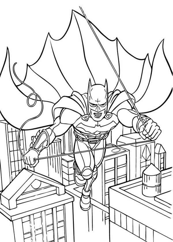 Batman, : Batman Jump From One Building to Another Coloring Page