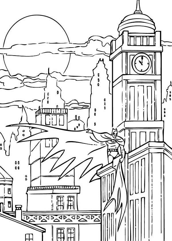 City, : Batman Night Action at Gotham CityColoring Page