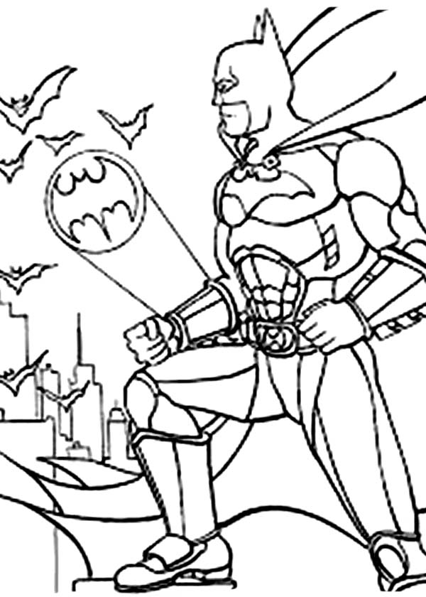 Batman, : Batman Saw Bat Sign is On Coloring Page