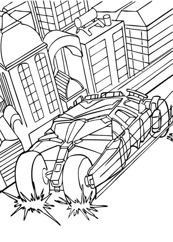 Batman, : Batman and Bat Mobile in Action Coloring Page