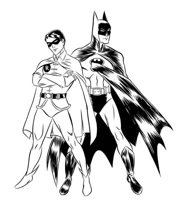 Batman, : Batman and Robin Coloring Page for Kids