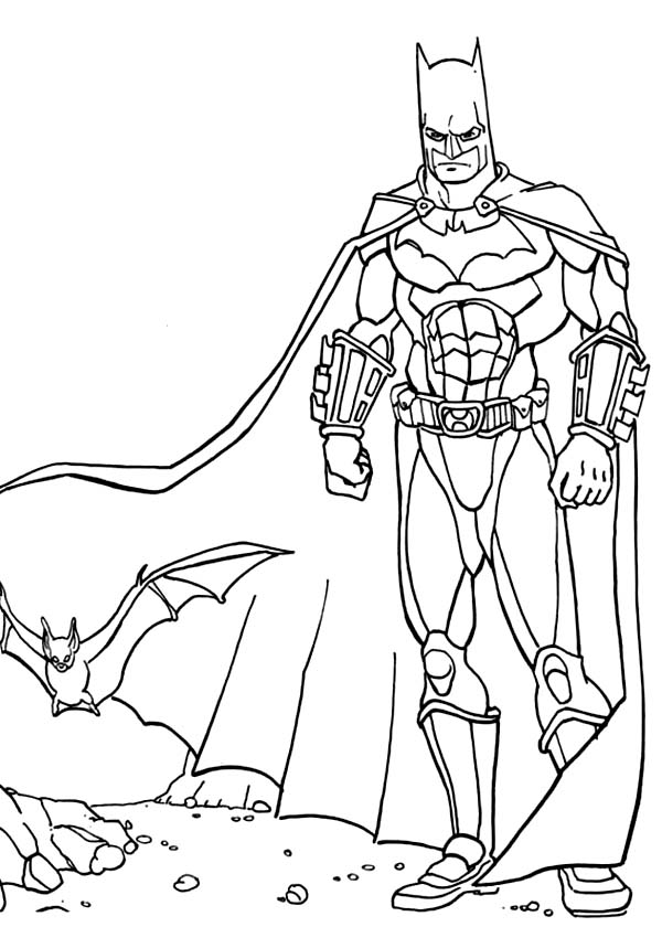 Batman, : Batman and a Bat in a Ruin Building Coloring Page