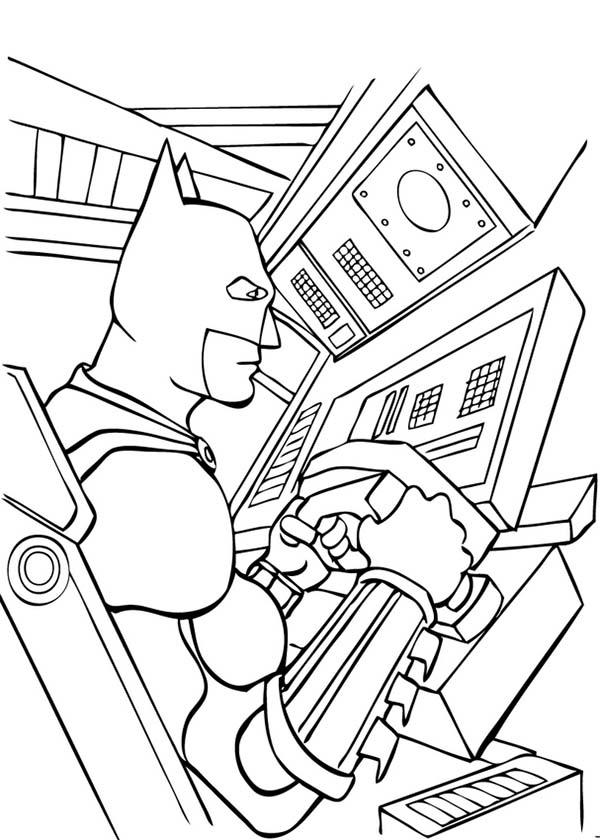 Batman, : Batman in Bat Mobile Coloring Page