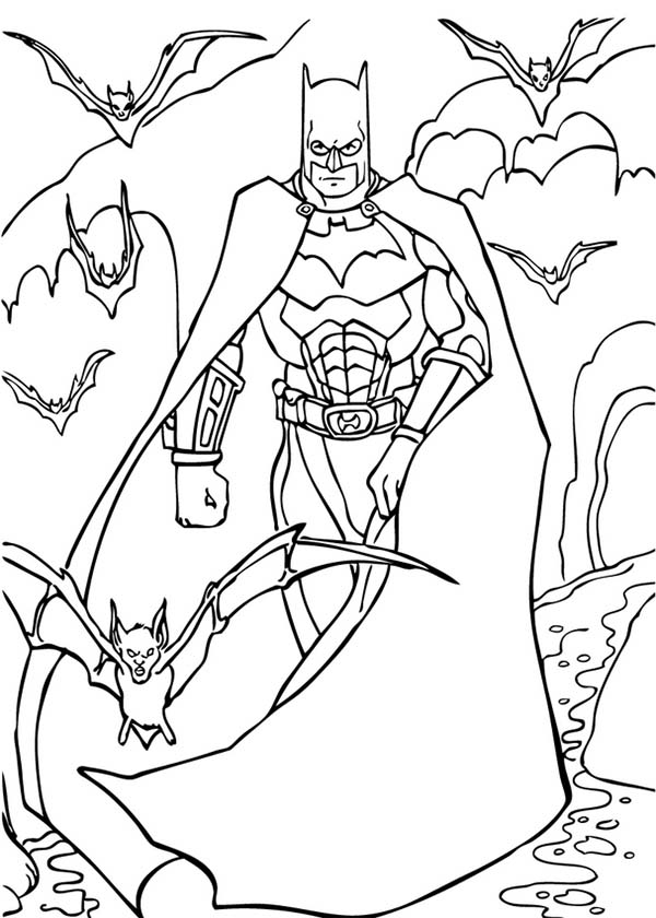 Batman, : Batman in the Cave Full of Bats Coloring Page