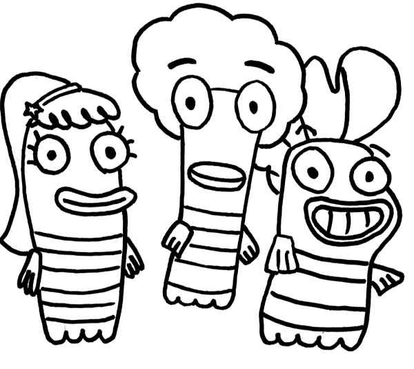 Fish Hooks, : Bea Oscar and Milo from Fish Hooks Coloring Page