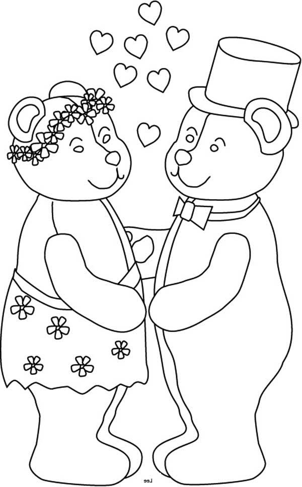 Wedding, : Bear Couple in Wedding Coloring Page