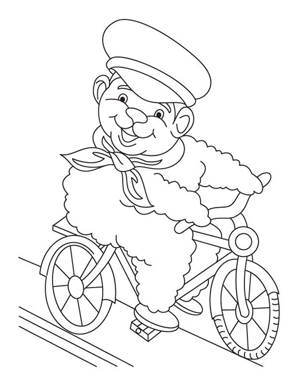 Bicycle, : Bear Ride Bicycle Coloring Page