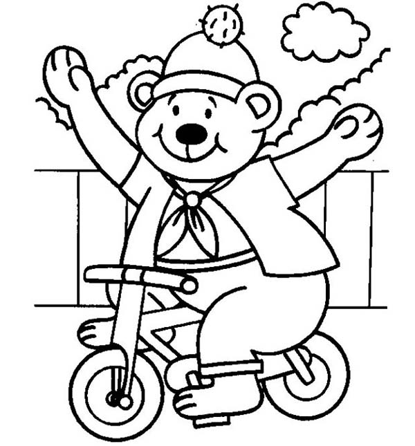 Bicycle, : Bear Ridong Little Bicycle Coloring Page