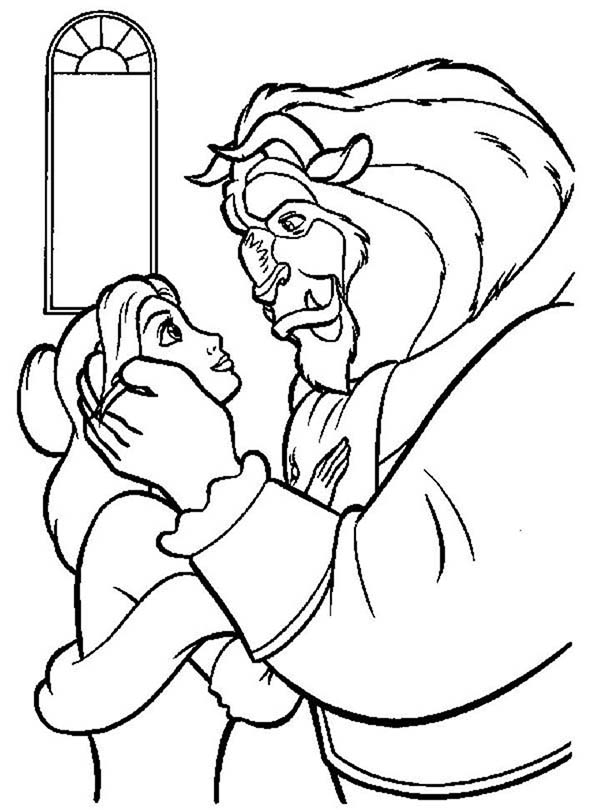 Belle, : Beast Staring at Belle Eyes Coloring Pages