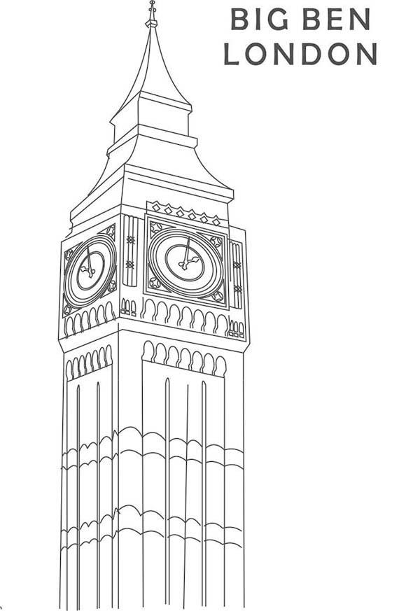 Big Ben, : Beautiful Clock Tower Big Ben Coloring Page