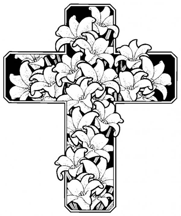 Cross, : Beautiful Flower with Cross Coloring Page