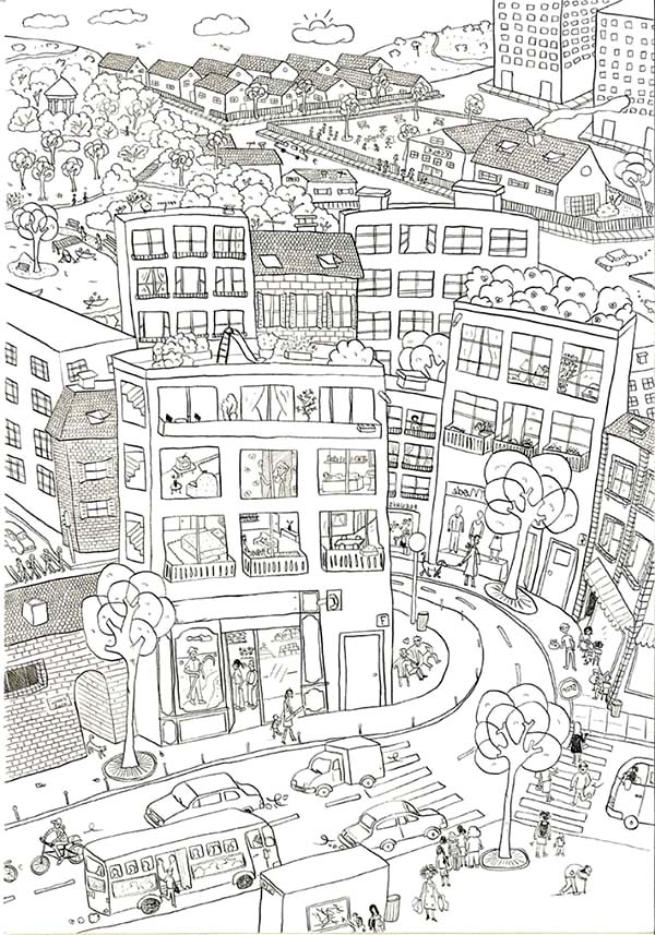 City, : Beautiful Kids Drawing of City Coloring Page