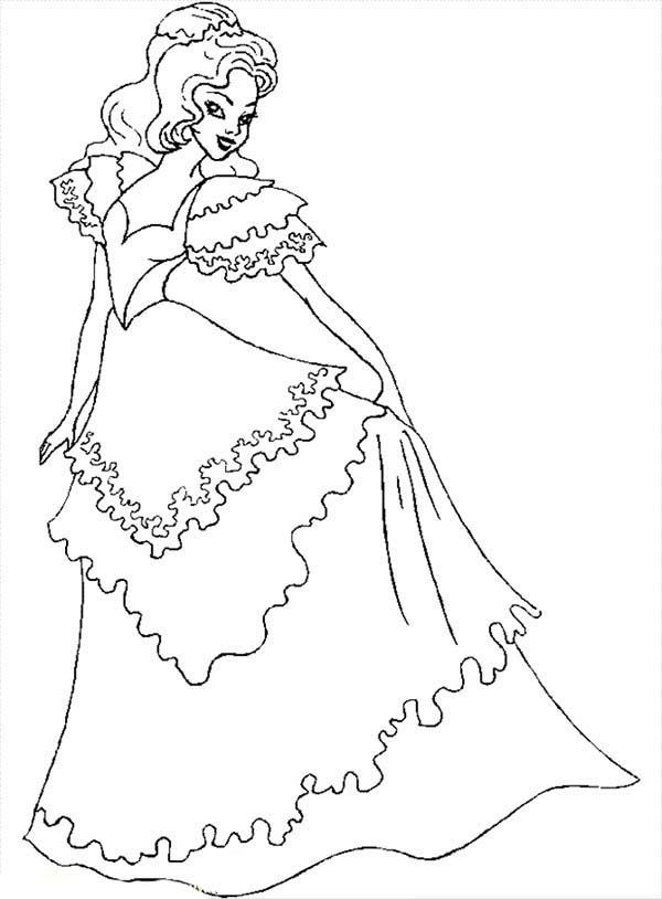Beautiful Ladies, : Beautiful Ladies Wear Wedding Dress Coloring Page