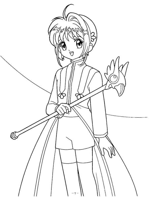 Cardcaptor Sakura, : Beautiful Sakura from Cardcaptor Sakura Coloring Page