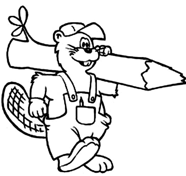 Beaver, : Beaver Carrying Coloring Page