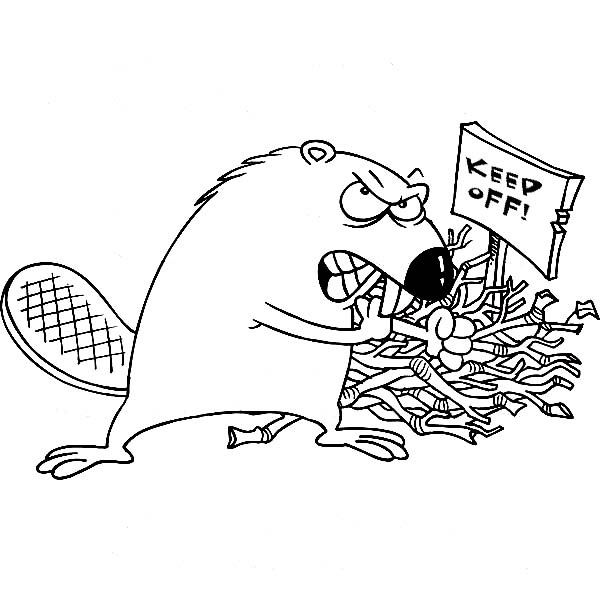 Beaver, : Beaver Guarding His Nest Coloring Page