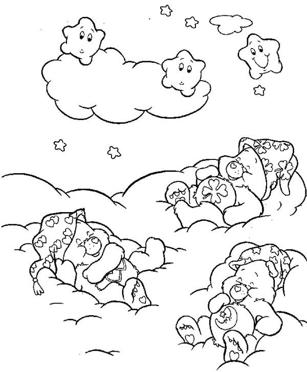 Care Bear, : Bedtime Bear Sleeping on the Clouds in Care Bear Coloring Page