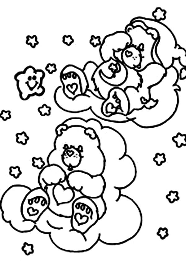 Care Bear, : Bedtime Bear and Tenderheart Bear in Care Bear Coloring Page