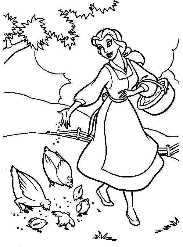 Belle, : Belle Feeding Chickens Coloring Pages
