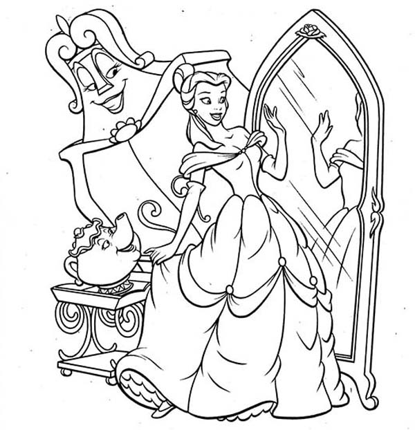 Belle, : Belle Gown Fitting Coloring Pages